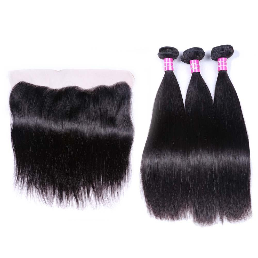 Sterly Brazilian Straight Hair 3 Bundles With Frontal Closure 13x4 Ear To Ear Lace Frontal With Bundles Unprocessed Virgin Human Hair Extensions Natural Color (18 20 22 +16) by Sterly (Image #3)
