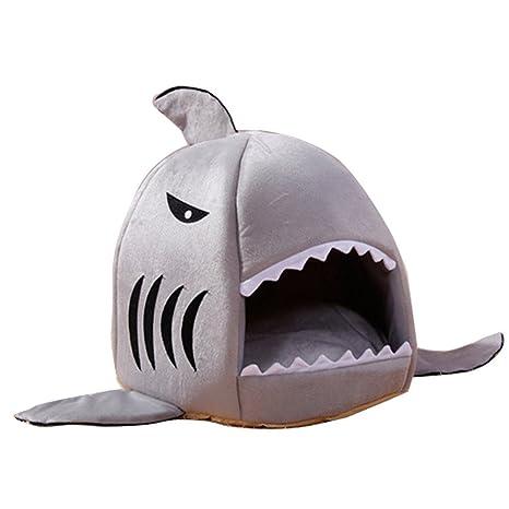Minkoll Pet Pad Cama, Suave Tiburón Redondo Mascota caseta Acogedor Nest Cojín Plegable Interior Cachorro