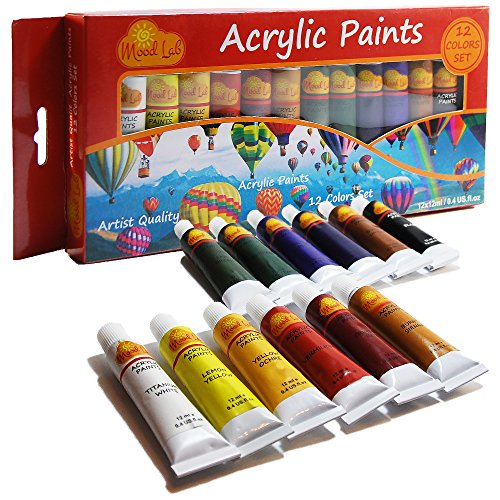 Acrylic Paint Set - Premium 12 Colors x 12ml 0.4 oz Tubes - Artist Quality - Non-Toxic Art Supplies Kit - For Professionals, Students, Beginners, Kids by Mood Lab
