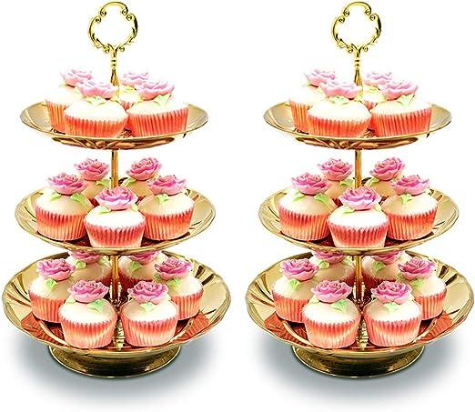 2 Nivel L Soporte para Pasteles Plato De Frutas Soporte De Cupcake De Acero Inoxidable para Pasteles Postres Frutas Dulces Buffet Soporte De Cupcake De Metal