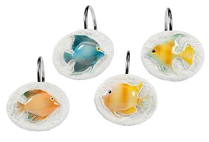 Creative Bath Products Rainbow Fish Shower Curtain Hooks