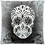 Pillowcase Pillow Cover Dia De Los Muertos Suger Skull and Flower Zippered Pillow Protector 18x18 inch (one side)