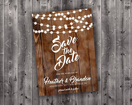 Save the Date Cards Printed, Save The Date Wedding Invite, Affordable, Cheap, Lights, Calendar, Wood, Rustic, Postcard, Country, Photo (Postcard Calendar)