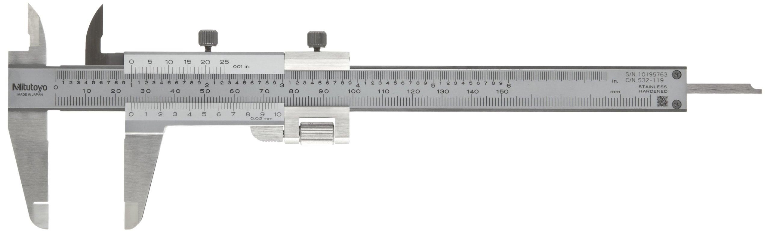 Mitutoyo 532-119 Vernier Caliper, Stainless Steel, Inch/Metric, 0-5'' Range, +/-0.0011'' Accuracy, 0.001'' Resolution