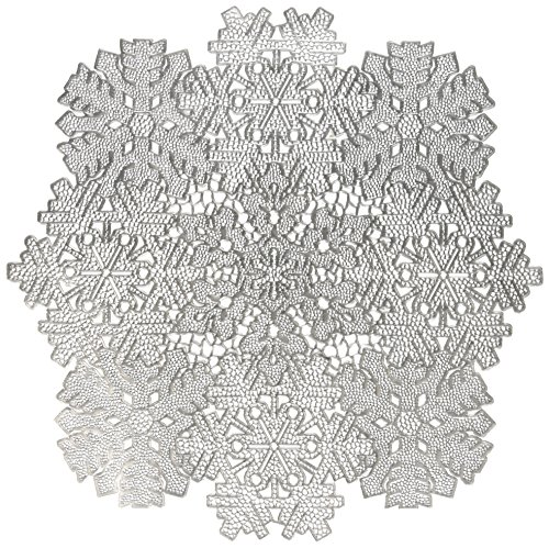 Benson Mills Co., Inc. Benson Mills Snowflake Frenzy Pressed Vinyl Placemat (Set of 4), Silver, 17