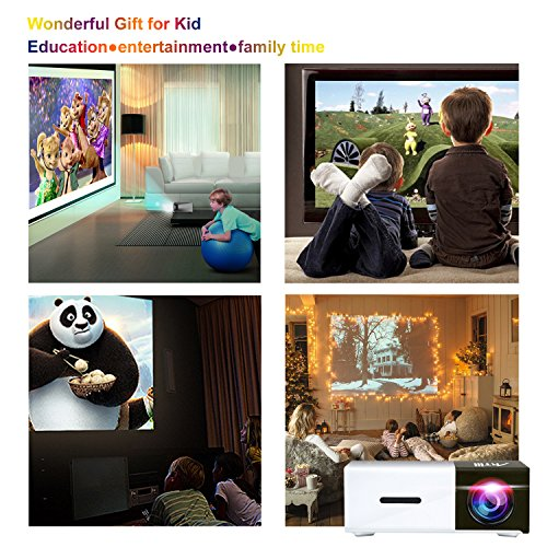 Pico Projector, Artlii Movie iPhone Mini Pocket Laptop Smartphone Projector for Home Cinema Video Party - Black&White by ARTlii (Image #5)
