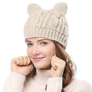 9c9b1fe51d9 Femme Fille trapu Douce câble Bonnet en Tricot Chapeau Hiver Chaud à Pompom  Pour Beanie Ski