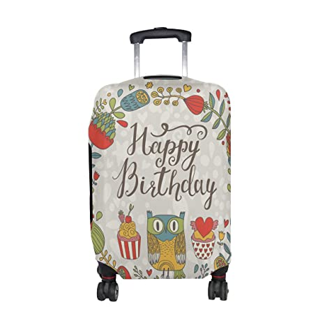 Amazon.com | LORVIES Owls Happy Birthday Print Travel Luggage Protective Covers Washable Spandex Baggage Suitcase Cover - Fits 18-32 Inch | Packing ...