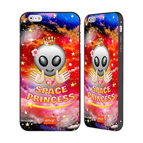 Officiel Emoji Princesse Espace Noir Étui Coque Aluminium Bumper Slider pour Apple iPhone 6 Plus / 6s Plus
