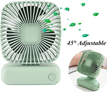 Mini USB Table Desk Personal Fan USB Rechargeable Small Adjustable Speed Small Fan for Traveling Metal Design Quiet Operation USB Cable Fan Color : Blue