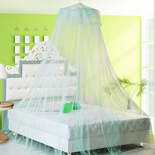 Lai-LYQ Lace Flower Dome Princess Bed Curtain Canopy Kids Room Mosquito Fly Insect Net for girl gift fairy decor Green