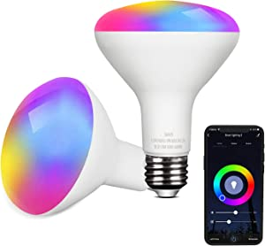 Smart LED Light Bulb Work with Alexa and Google Home BR30 A19 E26 9W 806lm Multicolor 2.4 GHz WiFi Dimmable Lights Bulbs Equivalent RGB Color Changing Bulb