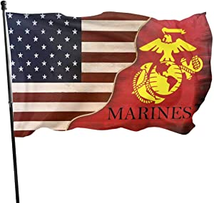 Us Marines Flag 3x5 Ft Outdoor Indoor U.S.Marine Corps Flag 100% Polyester Single Side with Brass Grommets Fit Chritmas/Birthday/Happy New Banner Decoration America USMC Flags