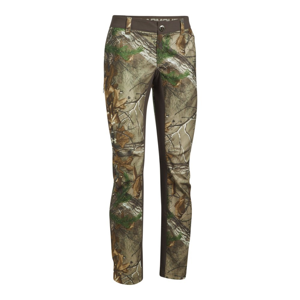 Under Armour Women's Fletching Pant,Realtree Ap-Xtra /Metallic Beige, 4
