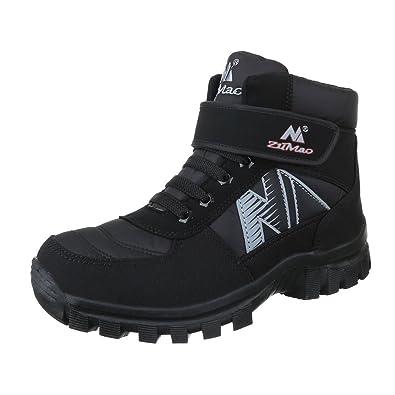 224336a0a8333b Ital-Design Winter- Schneestiefel Herren Schuhe Warm Gefütterte  Klettverschluss Stiefel Schwarz