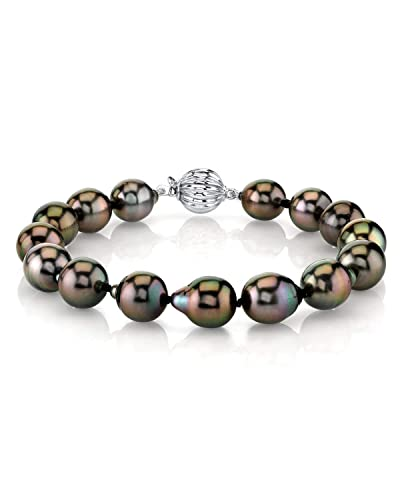 THE PEARL SOURCE 14K Gold 10-11mm Drop-Shape Genuine Black Tahitian South Sea Cultured Pearl Bracelet for Women