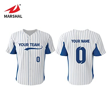 b1e05e5e Marshal Jersey Striped Custom Baseball Jersey with Your Names and Numbers  (S, Blue)