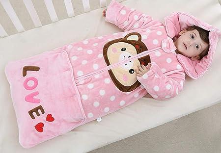 TAYIBO Pijama Manta Bebe Invierno,Saco de Dormir de Lana de Coral, edredón Grueso de otoño-Invierno para niños-D_130cm: Amazon.es: Hogar