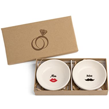 SPIRA Designs Mr. and Mrs. Jewelry Ring Dish in Engagement Gift Box