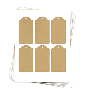 image about Printable Hang Tag titled 60 Printable Kraft Cardstock Domed Rectangle Hold Tags with Holes, 2.375 x 4.25 Inches, 2-Sided