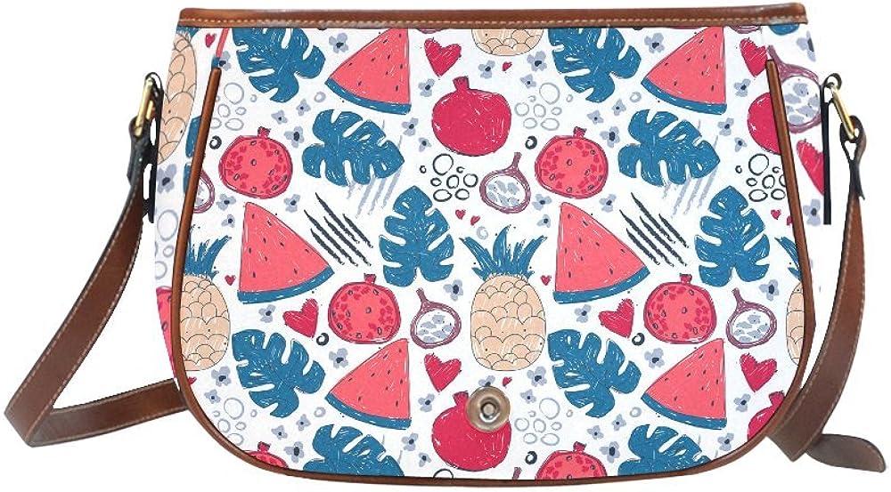 Custom Print Saddle Crossbody Exotic Fruits And Tropical Leafs Messenger Shoulder Bag Purse