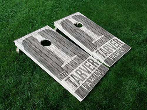 DISTRESSED Custom Wedding Set Wedding Day Marriage Last Name Couple CORNHOLE WRAP SET Vinyl Board DECAL Baggo Bag Toss Boards MADE IN the USA]()