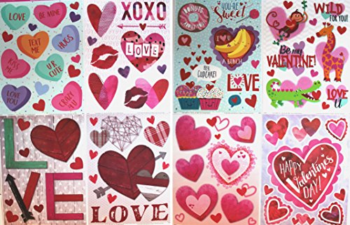Valentine Window - Valentines Day Window Clings, 8 Sheets