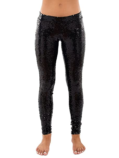 291101fdb45bb Black Sequin Leggings - Shiny Black Tights for Women at Amazon ...