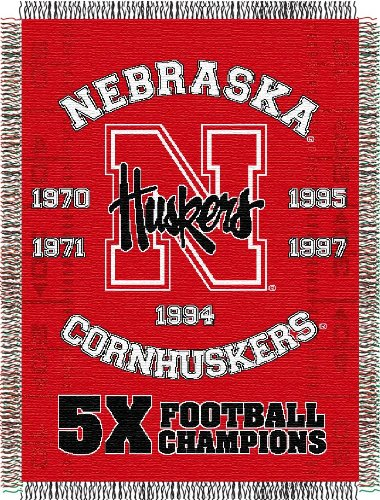 (The Northwest Company Officially Licensed NCAA Nebraska Cornhuskers Commemorative Woven Tapestry Throw Blanket, 48