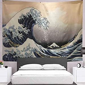 """Silver Lake Ocean Wave Tapestry 78.7"""" x 59"""" Blue Anime Tapestry Japanese Ukiyo-e Tapestry Wall Hanging Wall Decor for Bedroom(Includes LED String) SL042"""