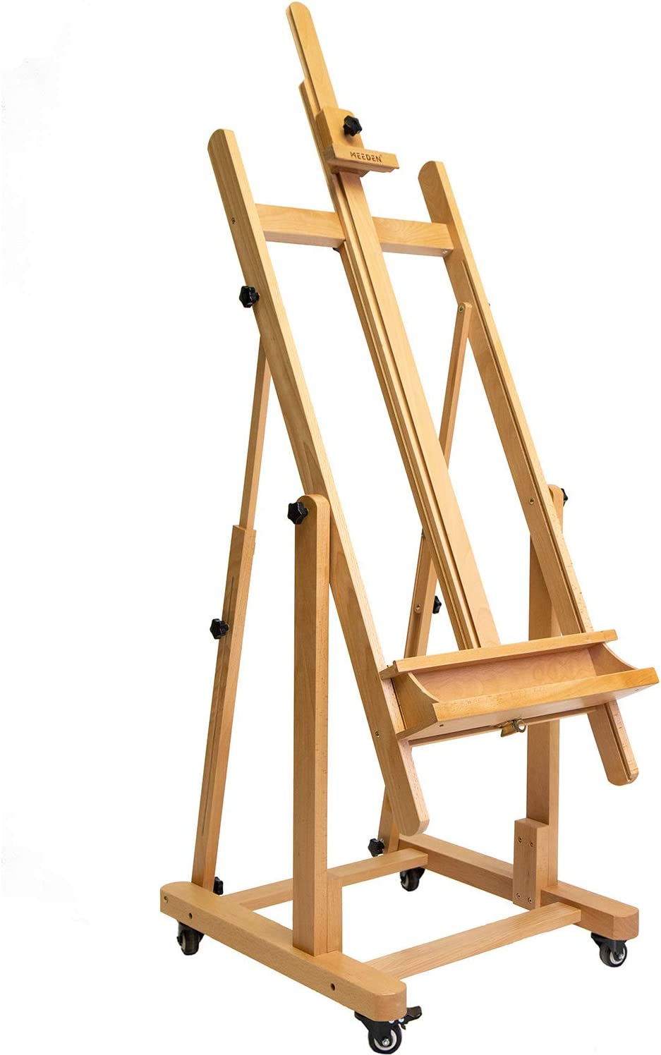 Meeden Extra Large Heavy Duty H Frame Studio Easel Versatile Solid Beech Wood Artist Professional Easel Adjustable Painting Easel Stand With 4 Premium Locking Silent Caster Wheels Hold Max 82 Amazon Ca Home Kitchen