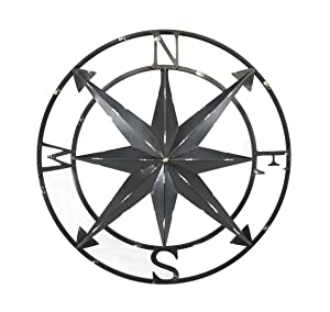 Zeckos 20 Inch Distressed Black Finish Metal Compass Rose Nautical Wall Hanging