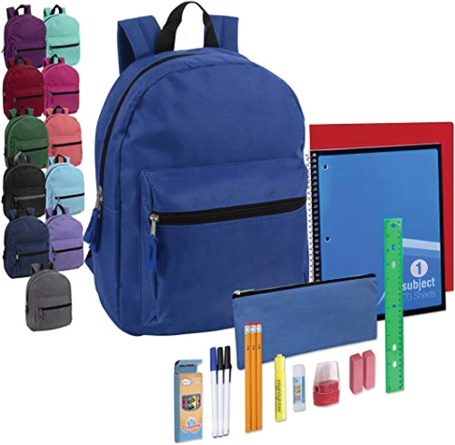 20 Piece Kits in Bulk Bundles 24 Pack Wholesale15 Inch Bulk Backpacks for Kids with School Supplies