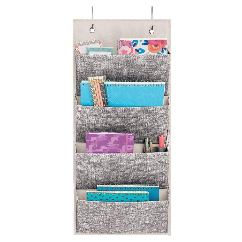 Entryway Hallway Hooks Included Office Mudroom Cream//Espresso Brown mDesign Soft Fabric Over The Door Hanging Storage Organizer with 3 Large Pockets for Closets in Bedrooms