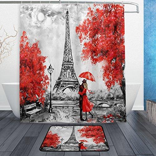 Painting Tower Paris Eiffel Oil (WOZO Oil Painting Paris Eiffel Tower Romantic Lover Polyester Fabric Bathroom Shower Curtain 60 x 72 inch with Hooks Modern Bathroom Doormat Rug 23.6 x 15.7 inch)