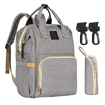 ee47907078 Amazon.com : Backpack Diaper Bag with Stroller Hooks, Multi-Function  Waterproof Travel Large Nappy Bag Organizer Breast Pump Bag for Man Women  (Gray) : Baby