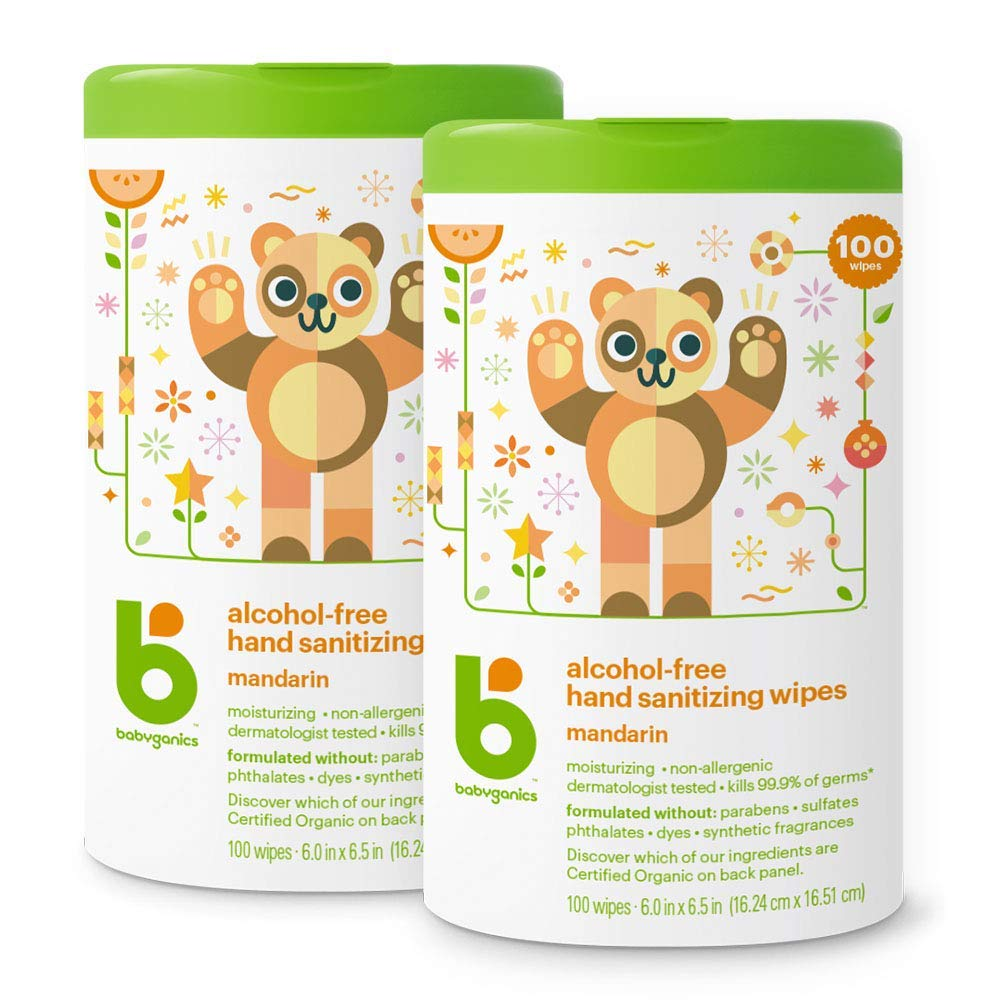 Babyganics Alcohol Free Hand Sanitizer Wipes, Mandarin, 100 Count Canister (Pack of 2) by Babyganics