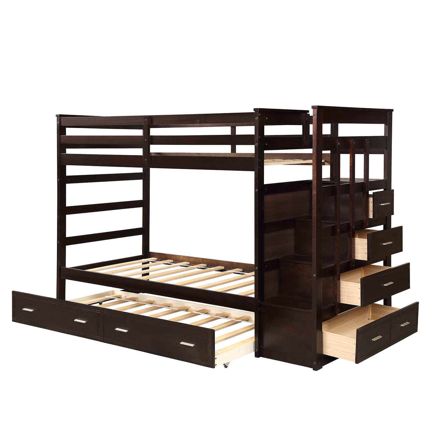 Wood Bunk Bed for Kids, ViYoung Hardwood Twin Over Twin Bunk Bed Frame with Trundle and Staircase Esprsso Bunk