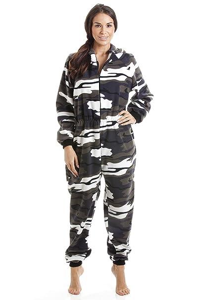 Pijama de una Pieza para Mujer - Forro Polar Suave - con Capucha y Cremallera Frontal - Estampado de Camuflaje de Nieve: Amazon.es: Ropa y accesorios