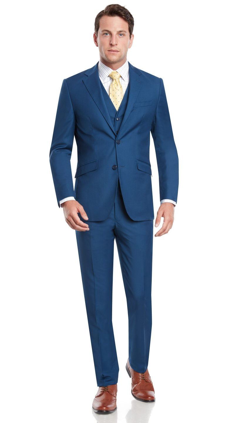 Mens Slim Fit Notched Lapel 3 Piece Suit Set Designed by Taheri French Blue 80/20(US 36R / EU 46R / Waist 30)