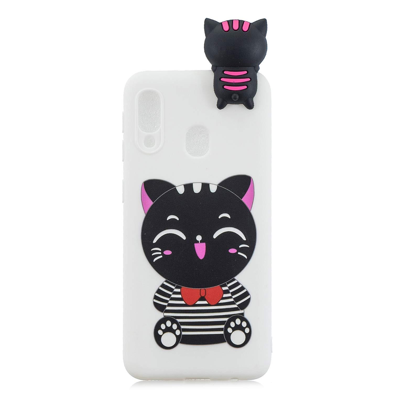 per Samsung Galaxy A20e Custodia Morbida TPU Gomma Bellissima Simpatico Panda Baffi Disegni Antiurto Sottile Bumper Protective Case QC-EMART 3D Carina Cover per Samsung A20e Silicone
