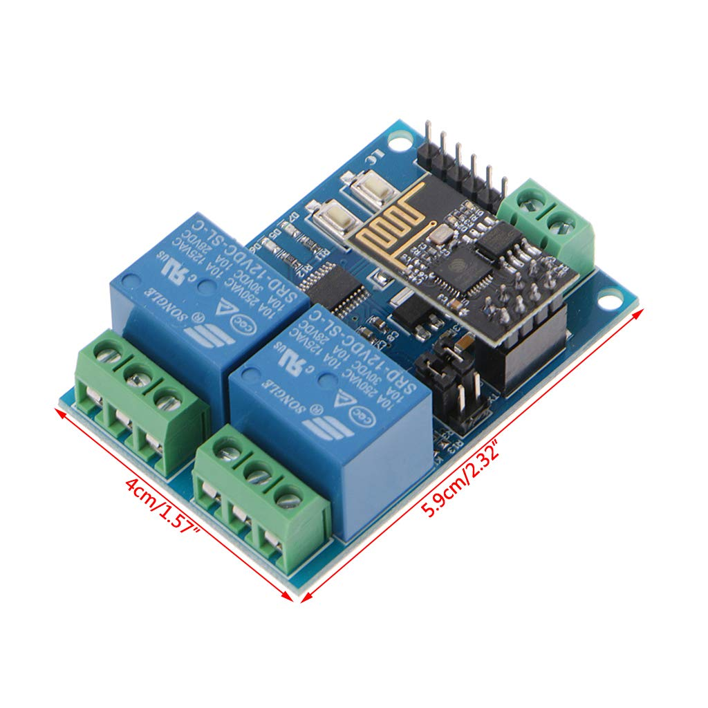 Qiulip WIFI Relay Module ESP8266 IOT APP Controller 2-Channel for Smart Home 12V