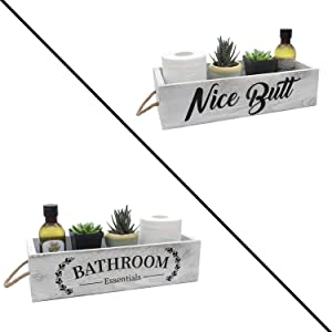 Farmhouse Bathroom Decor Box, 2 Sides with Funny Sayings - Wooden Toilet Paper Holder, Farmhouse Bathroom Decor, Rustic Home Decor Box for Bathroom, Kitchen (White)