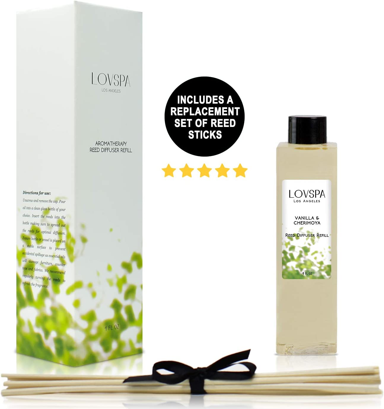 LOVSPA Vanilla & Cherimoya Reed Diffuser Refill Oil with Replacement Reed Sticks - Great Scent for Kitchen or Bathroom, 4 oz - Made in The USA