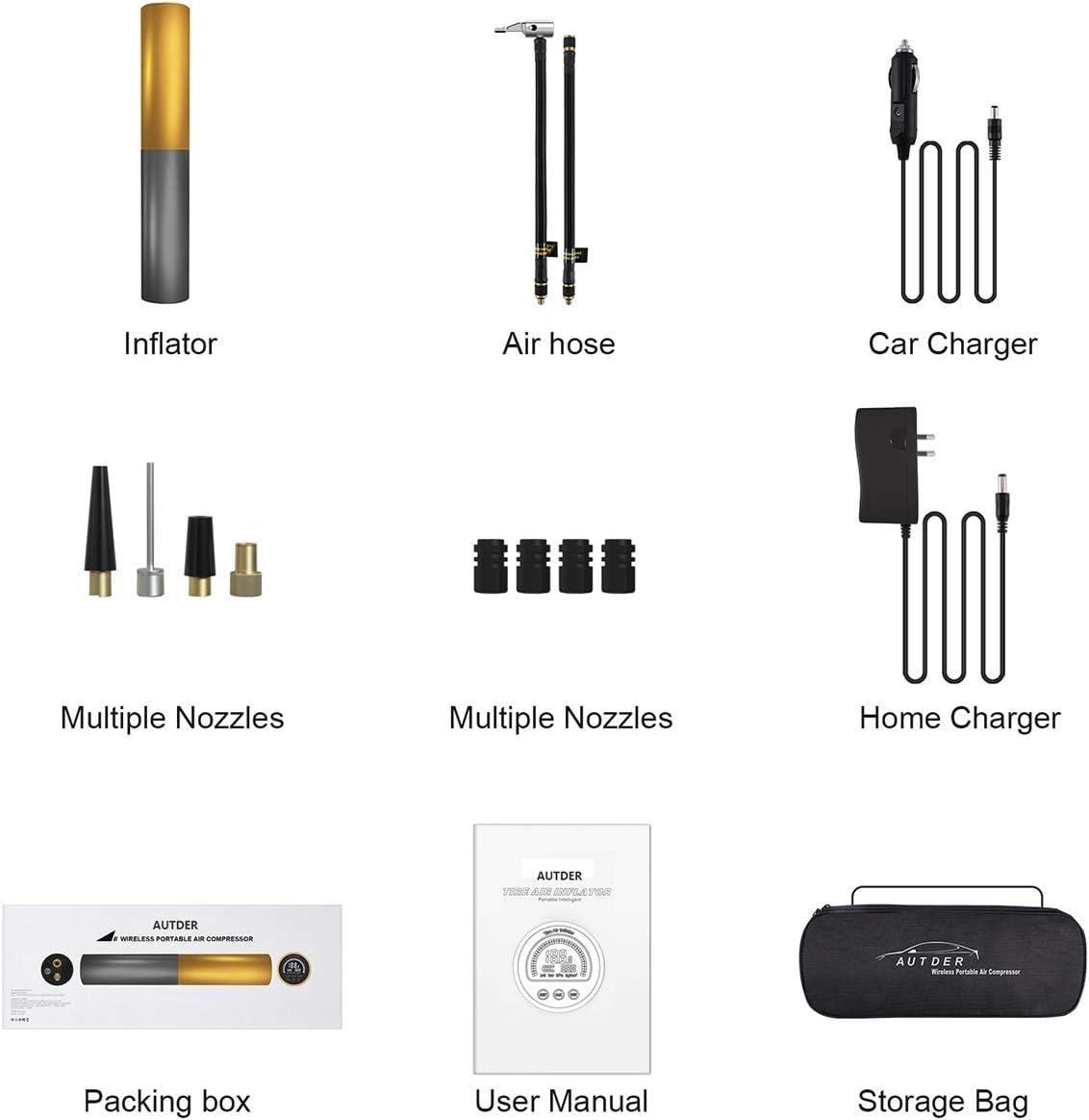 AUTDER Pompe /à air Portable en Alliage daluminium