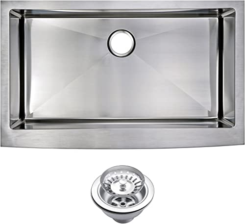 Water Creation SSS-AS-3622B 36 X 22 15 mm Corner Radius Single Bowl Stainless Steel Hand Made Apron Front Kitchen Sink with Drain and Strainer Premium Scratch Resistant Satin Stainless Steel