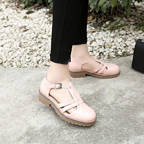COOLCEPT Mujer Moda Correa en T Sandalias Cerrado Bajo Tacon Ancho Zapatos Rosado