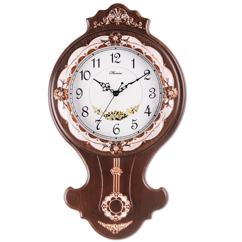 ヨーロッパのレトロな木製のフレームの時計、パーソナライズされたクリエイティブベッドルームシングルラウンドウォールマウントクロック、シンプルな金属ポインターハイグラスミラーミュート壁掛け掛け時計 (Color : Brown) B07FQ6NPZ1Brown