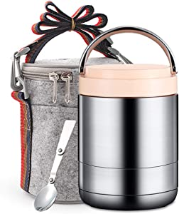 TileMiun Vacuum Thermal Bento Lunch Box Stainless Steel Lunch Jar for Hot Food Leak Proof Thermal Food Soup Thermos with Spoon & Insulated Lunch Bag (Pink)