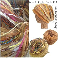 Boutique Yarn Slouchy Hat Knitting Kit Gold
